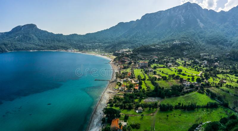 Aerial view from Marmaris, Kumlubuk beach, sea and mountain. Holiday and summer background. Amos Ancient city. Lycian way stock photos