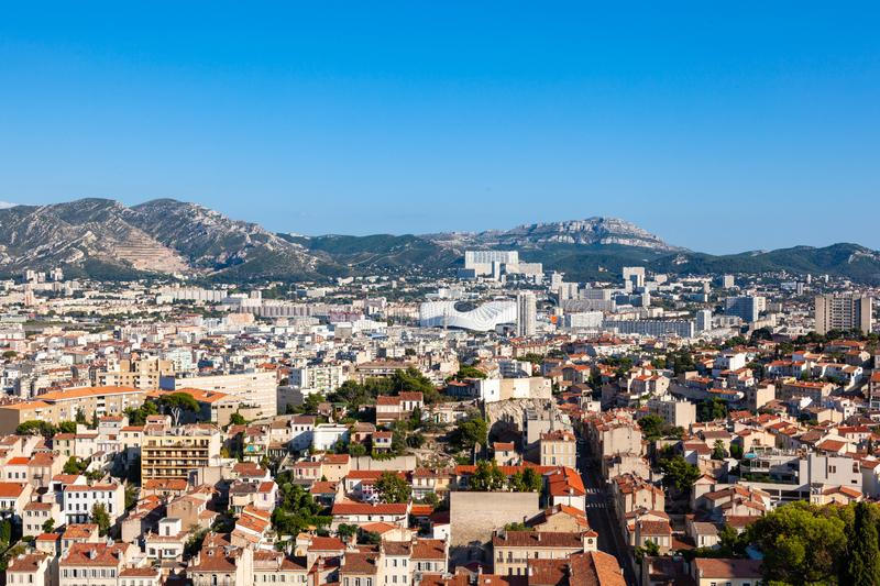 Aerial view of Marseille city from Notre dame de la garde cathedral viewpoint in south of France royalty free stock photo