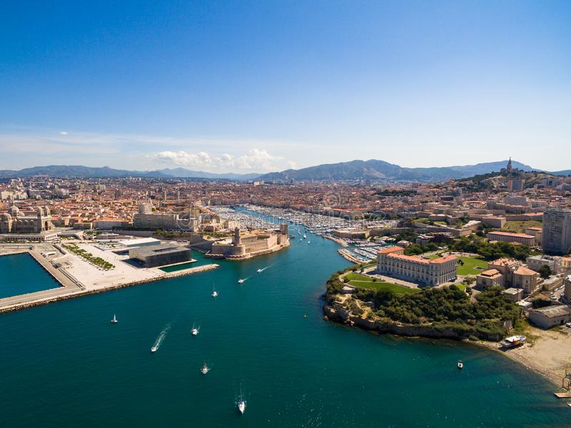 Aerial view of Marseille pier - Vieux Port, Saint Jean castle, a stock photos