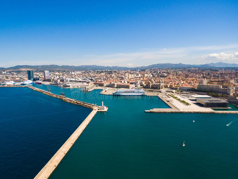 Aerial view of Marseille pier - Vieux Port, Saint Jean castle, a royalty free stock image