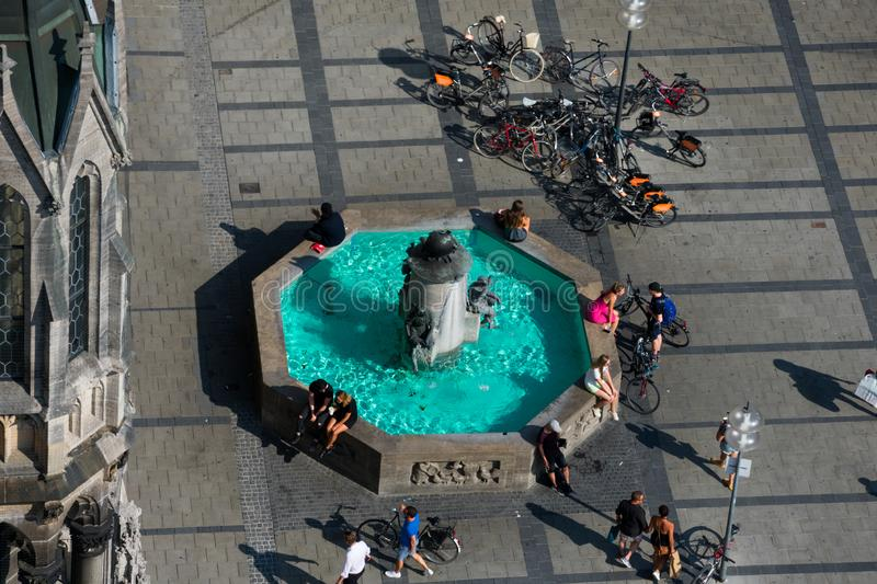 Aerial view of Mary`s Square Marienplatz. Fish`s Fountain. Munich, Germany. August 22, 2018. Aerial view of Mary`s Square Marienplatz. Fish`s Fountain royalty free stock photo