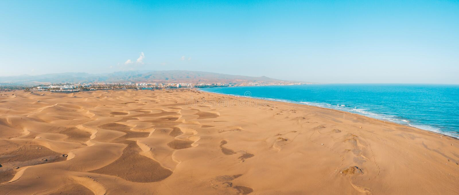 Aerial view of the Maspalomas dunes on the Gran Canaria island. stock photography