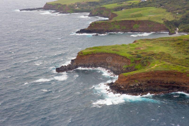 Aerial view of Maui`s North Coast. Road to Hana stock photos