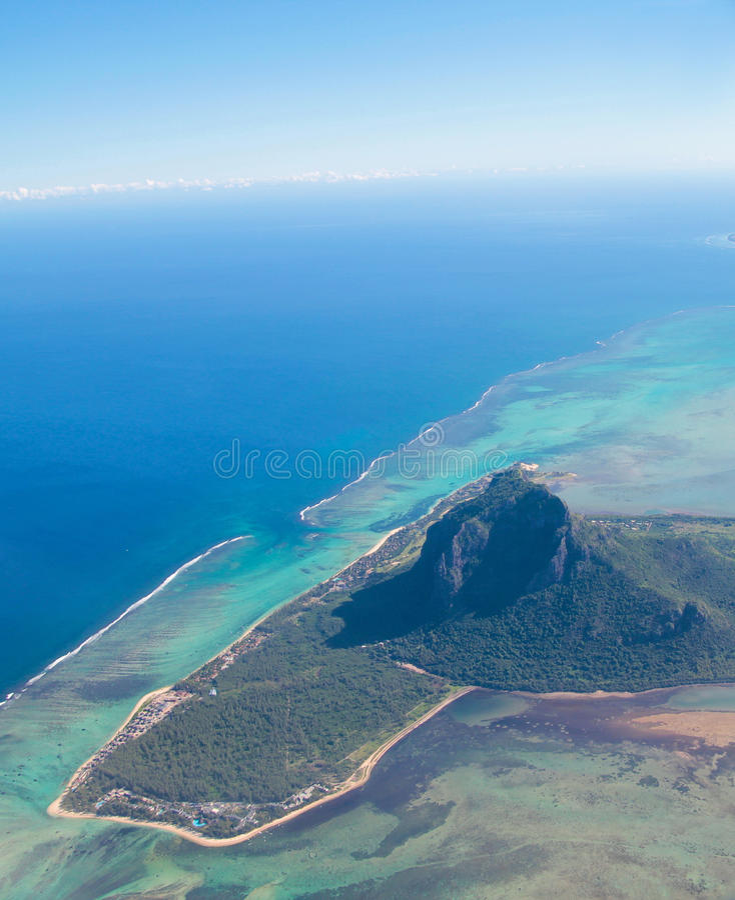 Aerial view Mauritius stock photo