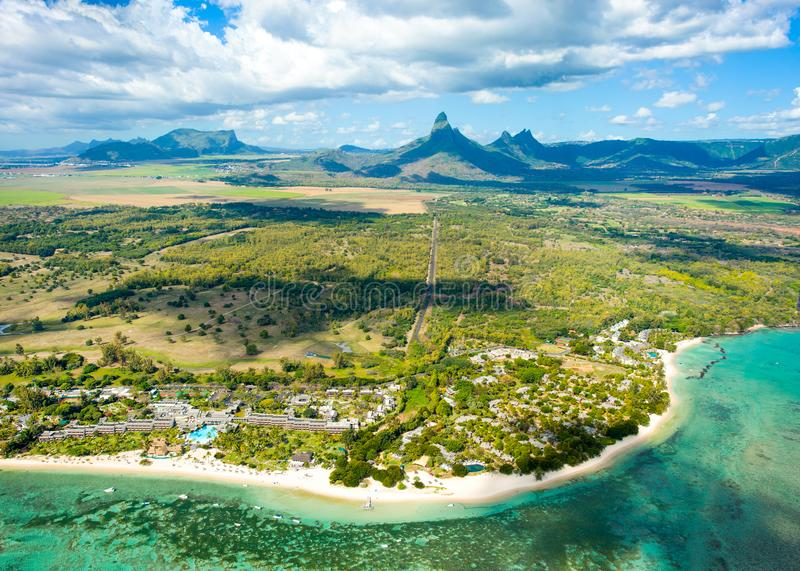 Aerial view of Mauritius island royalty free stock photo