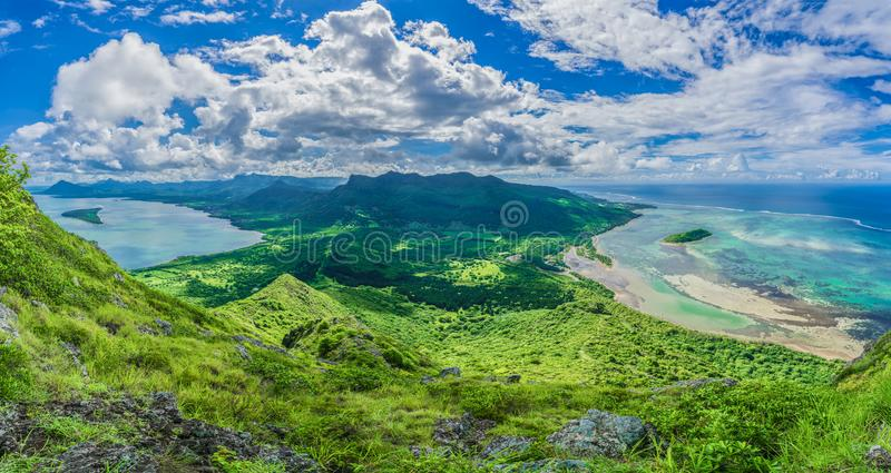 Aerial view of Mauritius islands with Le Morne Brabant, Africa stock photo