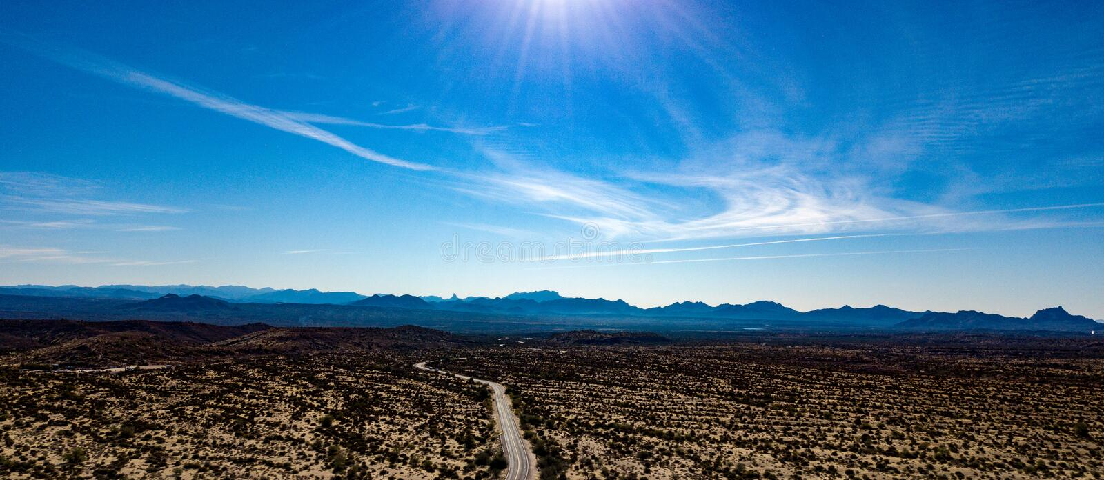 Aerial View Of McDowell Regional Park Near Phoenix, Arizona. View of rugged hills, mountains, and desert landscape in McDowell Regional Park near Phoenix royalty free stock photography