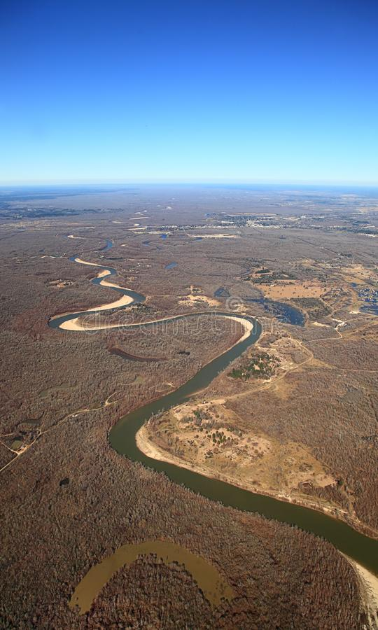 Aerial View of meandering river with oxbow lakein Texas royalty free stock photos
