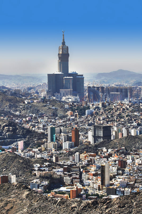 Aerial view of Mecca holy city in Saudia Arabia royalty free stock photography