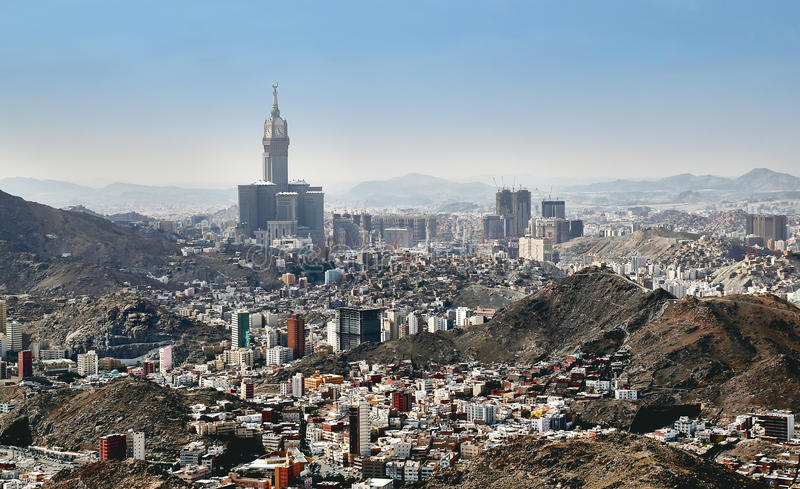 Aerial view of Mecca holy city in Saudia Arabia stock images