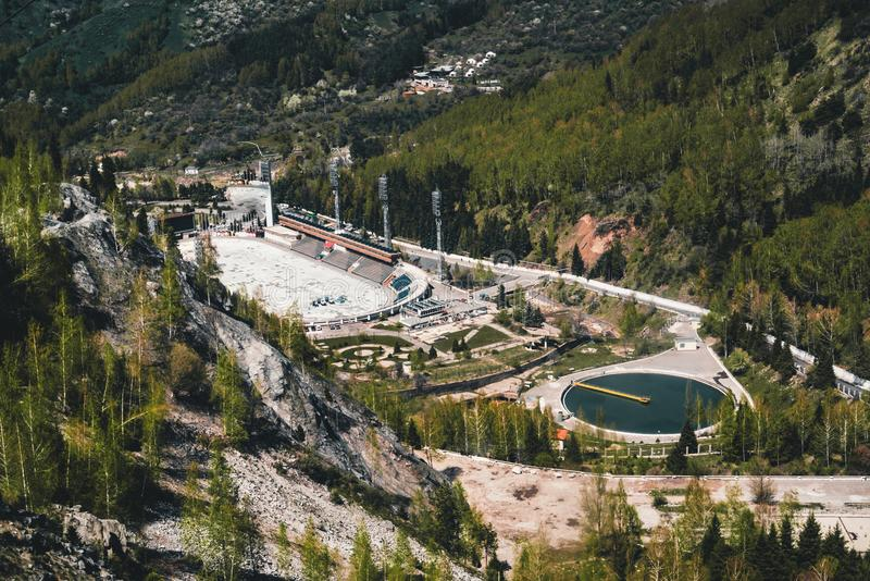 Aerial view of the Medeo stadium in Almaty, Kazakhstan. Medeo stadium is the highest located in the world - 1691 m. Above sea level. Photo taken in Almaty royalty free stock photos