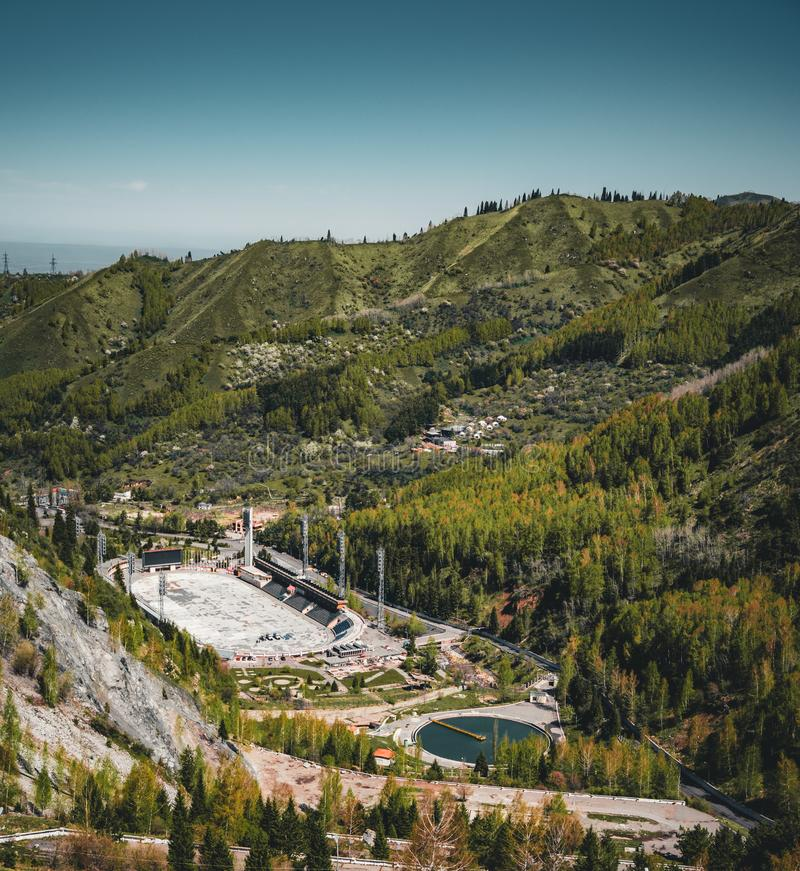Aerial view of the Medeo stadium in Almaty, Kazakhstan. Medeo stadium is the highest located in the world - 1691 m. Above sea level. Photo taken in Almaty stock photography