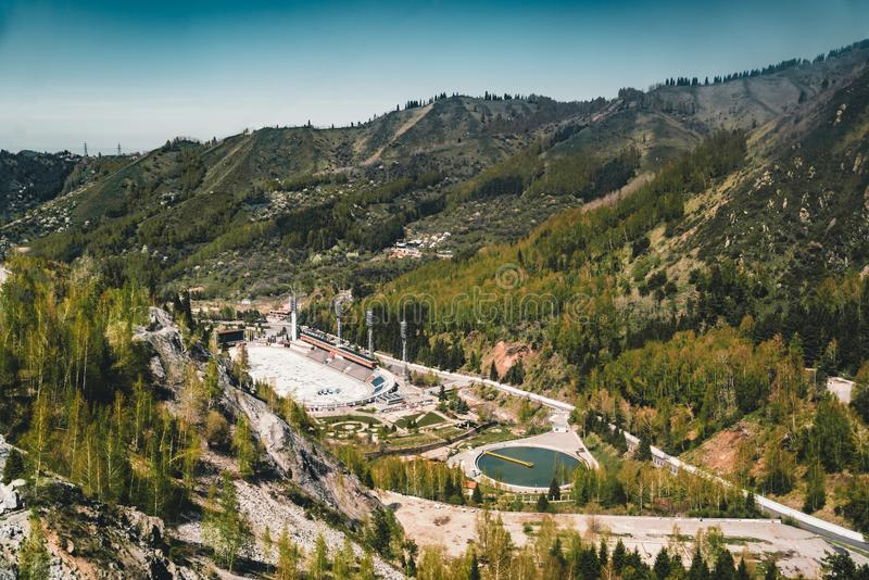Aerial view of the Medeo stadium in Almaty, Kazakhstan. Medeo stadium is the highest located in the world - 1691 m. Above sea level. Photo taken in Almaty royalty free stock image