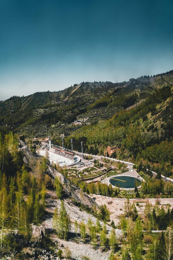 Aerial view of the Medeo stadium in Almaty, Kazakhstan. Medeo stadium is the highest located in the world - 1691 m. Above sea level. Photo taken in Almaty royalty free stock photography