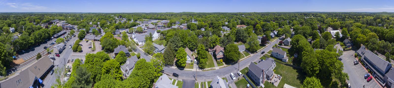 Medfield aerial view, Massachusetts, USA. Aerial view of Medfield historic town center and Maine Street panorama in summer, Medfield, Boston Metro West area stock photos