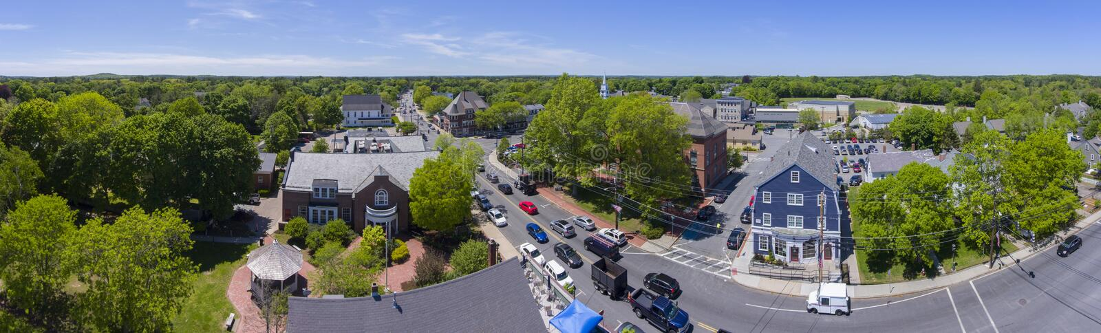 Medfield aerial view, Massachusetts, USA. Aerial view of Medfield historic town center and Maine Street panorama in summer, Medfield, Boston Metro West area royalty free stock photo