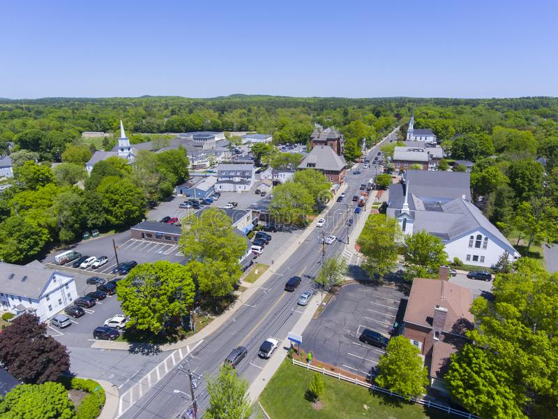 Medfield aerial view, Massachusetts, USA. Aerial view of Medfield historic town center and Maine Street in summer, Medfield, Boston Metro West area royalty free stock photography