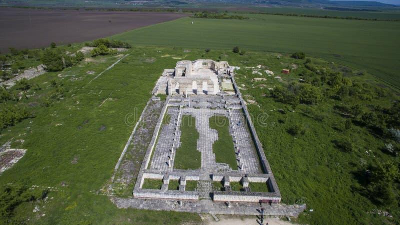 Aerial view of the medieval basilica in Pliska, Bulgaria royalty free stock photo