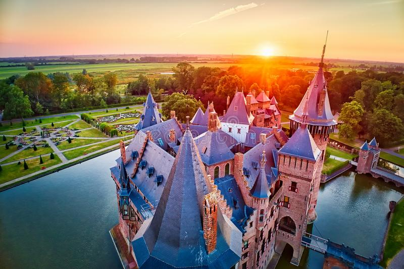 Aerial view of the medieval castle De Haar at sunset in Netherlands, Europe royalty free stock photo