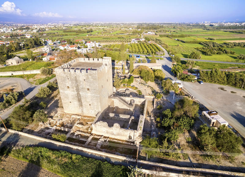 Aerial view of Medieval castle of Kolossi, Limassol, Cyprus stock images