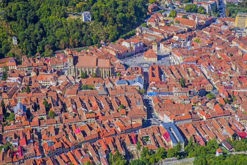 Brasov downtown Black Church and square royalty free stock photo