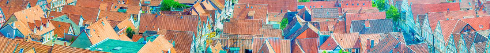 Aerial view of medieval city rooftops.  stock photo