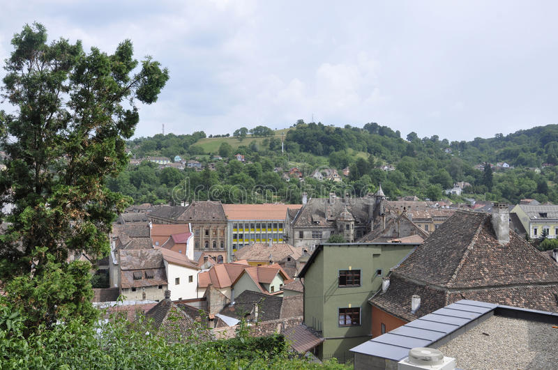 Aerial view of the Medieval Town Sighisoara in Romania stock photography