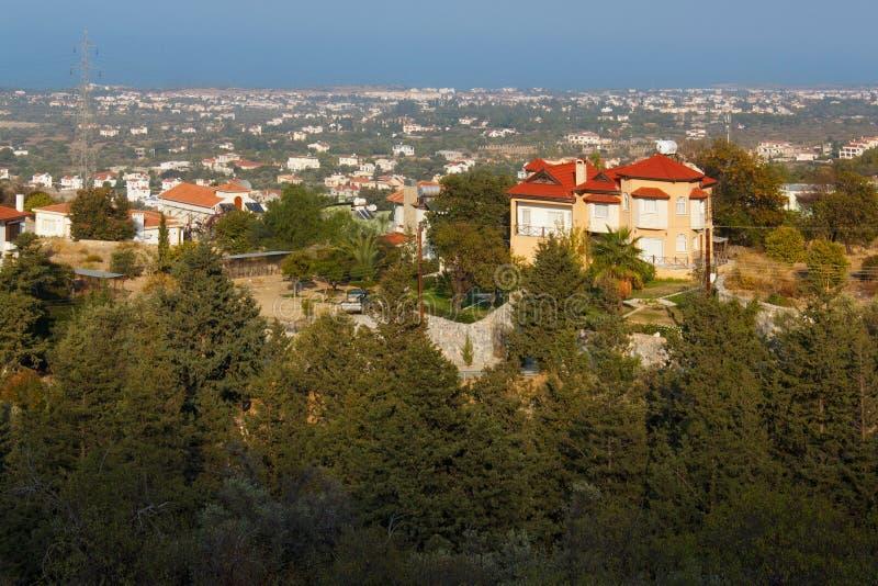 Aerial view of the Mediterranean coast near Kyrenia Girne royalty free stock photos