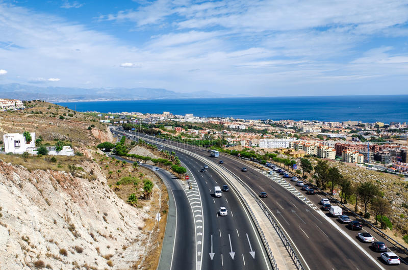 Aerial view on the Mediterranean highway along Benalmadena town. Costa del Sol, Andalusia, Southern Spain stock photos