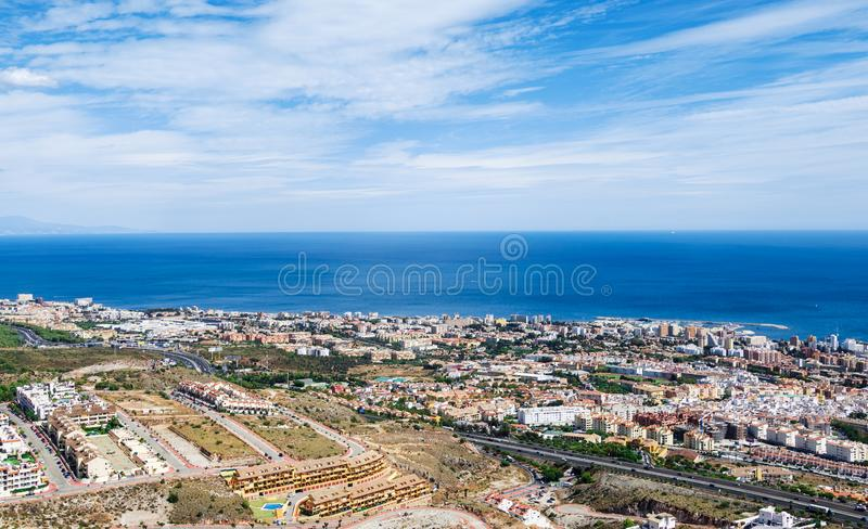 Aerial view on the Mediterranean sea, Benalmadena town and highway along the coast. Provence Malaga, Costa del Sol, Spain. stock images
