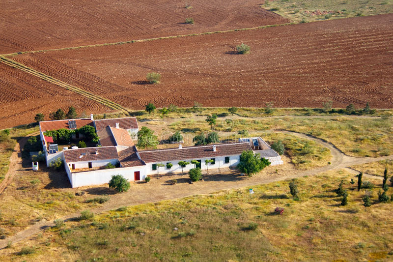 Aerial view of a meditteranean cottage royalty free stock photo