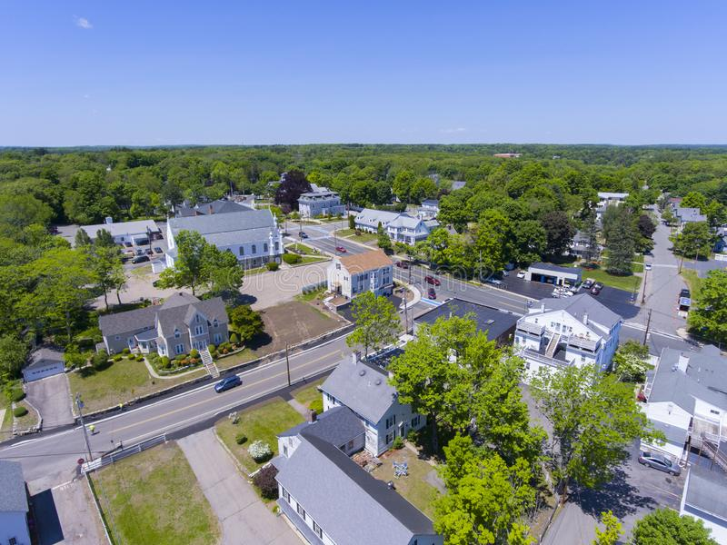 Medway aerial view, Massachusetts, USA. Aerial view of Medway historic town center, St. Joseph`s Parish Church and Village Street in summer, Medway, Boston Metro stock photo