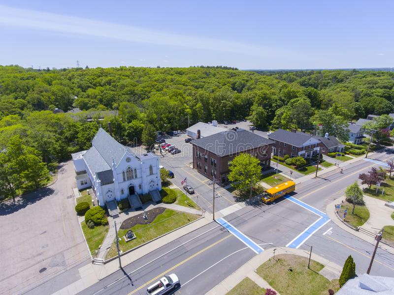 Medway aerial view, Massachusetts, USA. Aerial view of Medway historic town center, St. Joseph`s Parish Church and Village Street in summer, Medway, Boston Metro stock image