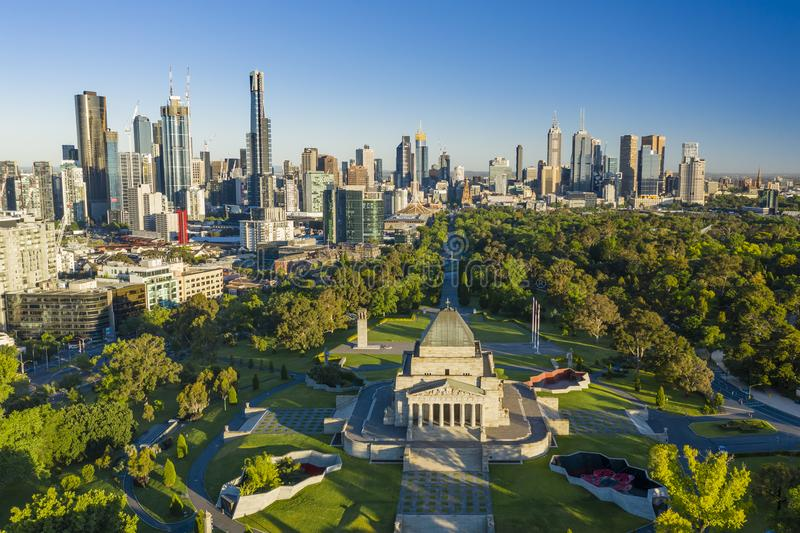 Aerial view of Melbourne CBD stock photography