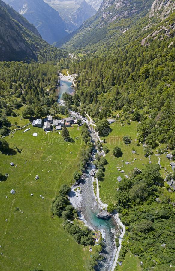 Aerial view of the Mello Valley, Val di Mello, a green valley surrounded by granite mountains and forest trees. Val Masino. Italy stock photography