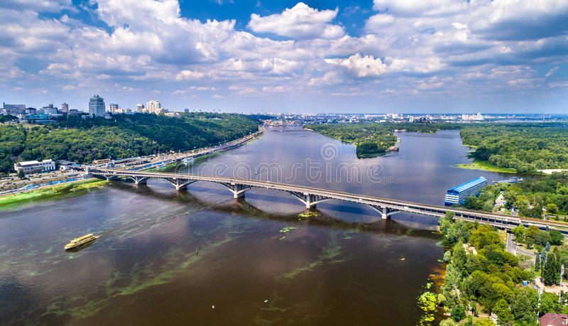 Aerial view of the Metro Bridge across the Dnieper river in Kiev, Ukraine royalty free stock images