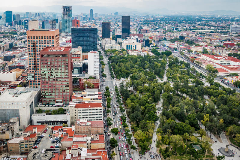 Aerial view of Mexico City Alameda Central Park - Mexico City, Mexico royalty free stock image