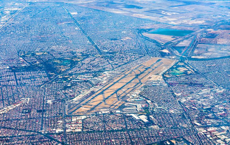 Aerial view of Mexico City International Airport. View of Mexico City International Airport from an airplane royalty free stock images