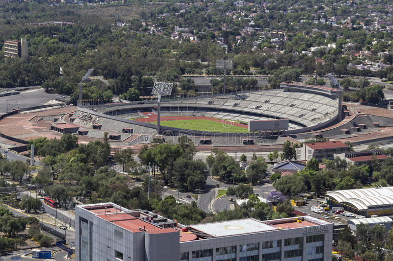 Aerial view of mexico city university olympic stadium royalty free stock image