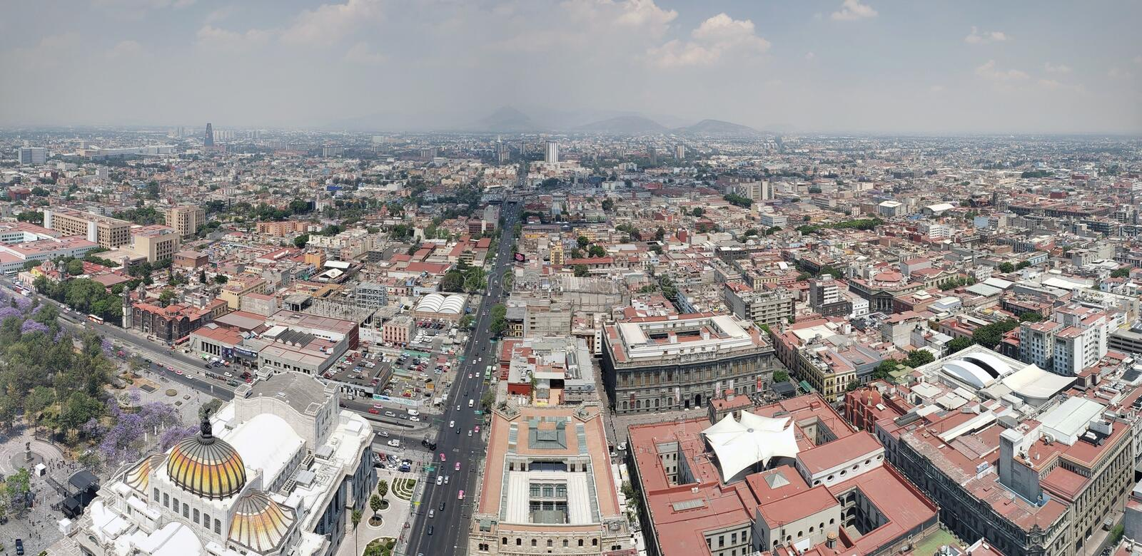 aerial view of Mexico City in urban zone royalty free stock image