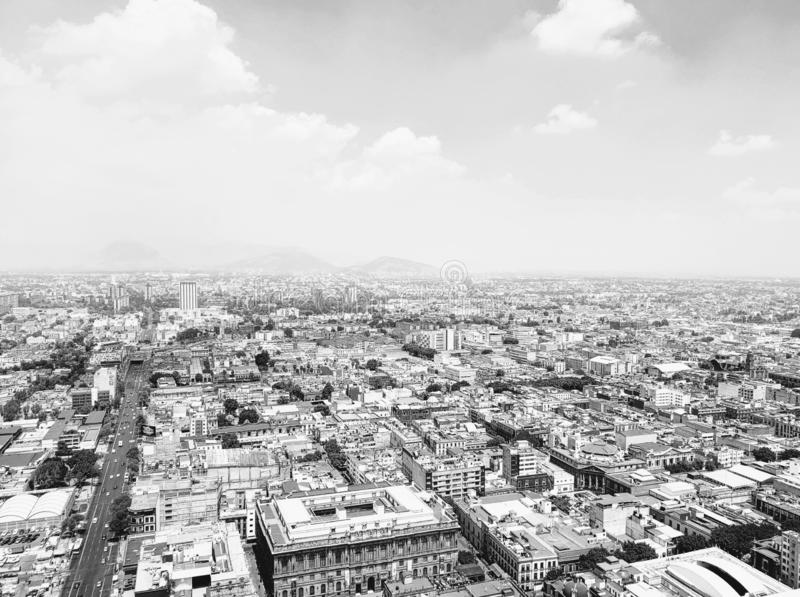 aerial view of Mexico City in urban zone stock photo