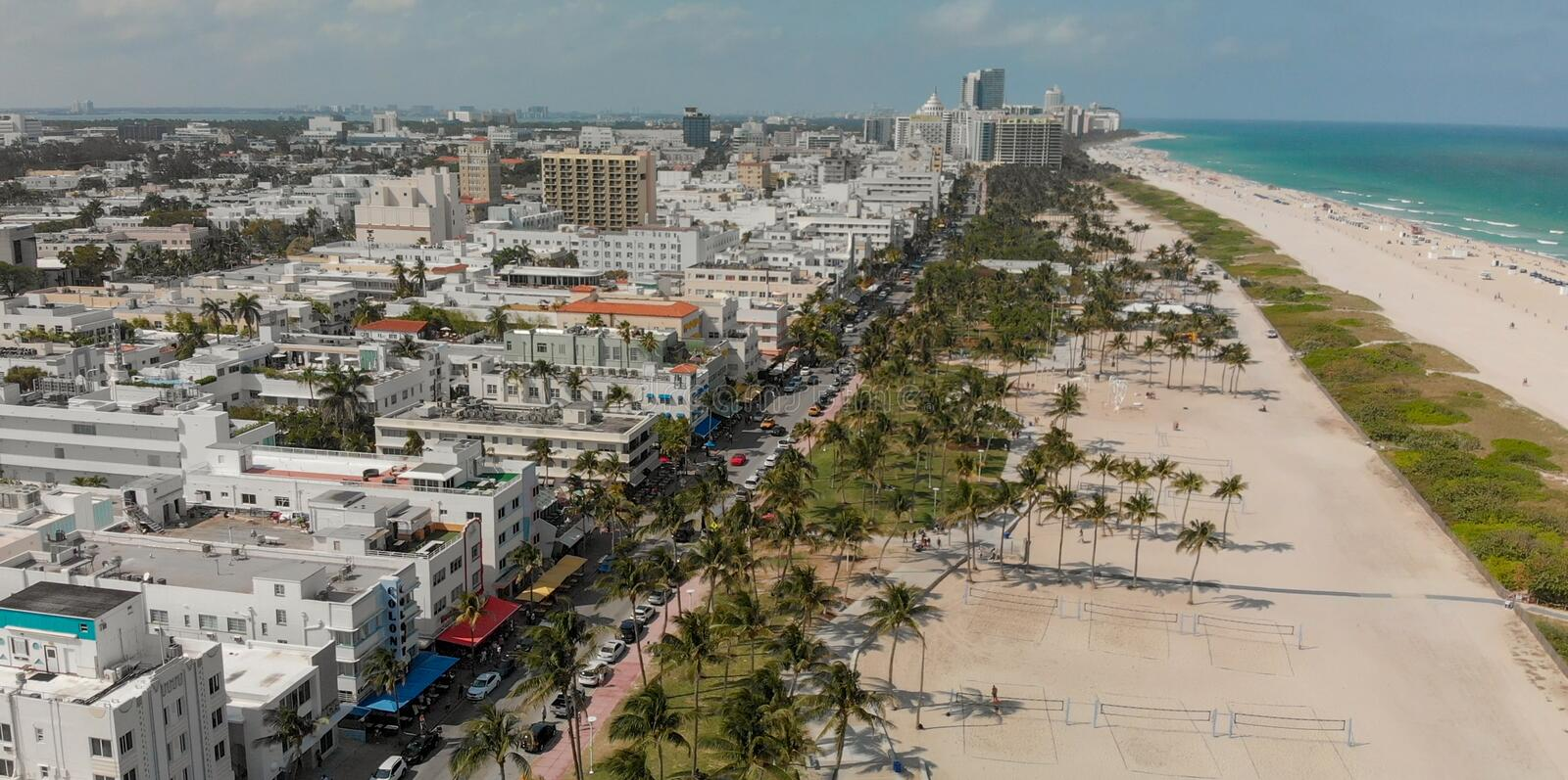 Aerial view of Miami Beach and Ocean Drive on a beautiful spring royalty free stock photography
