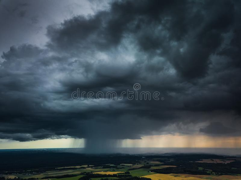 Aerial view of Micro burst in Lithuania stock image