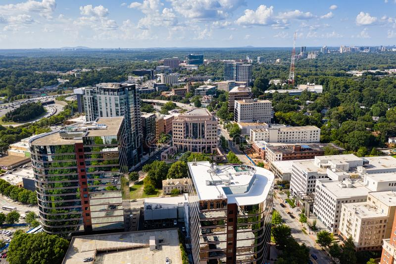Aerial view Midtown Atlanta skyline and Buckhead in the background. Aerial view photo of Midtown Atlanta skyline and Buckhead in the background royalty free stock photography