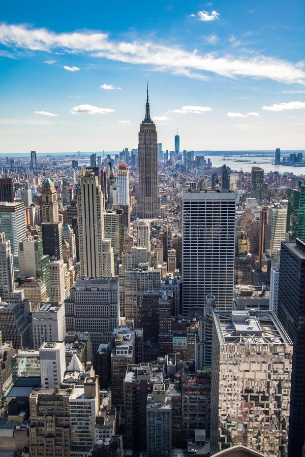Aerial view of Downtown and Midtown Manhattan Skyline, New York, USA. Aerial view of Midtown and Downtown Manhattan, New York, USA. Modern architecture, tall stock images