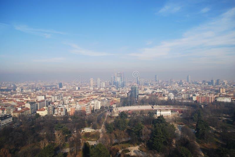 Aerial view of Milan stock photos