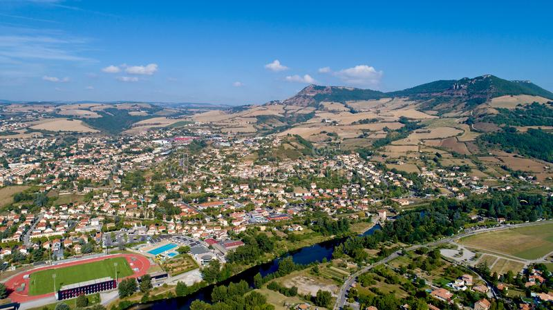 Aerial view of Millau and the Gorges du Tarn stock photography