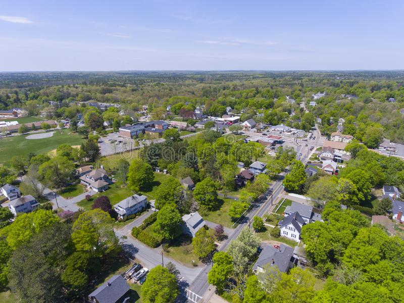 Millis aerial view, Massachusetts, USA. Aerial view of Millis historic town center and Main Street in spring, Millis, Boston Metro West area, Massachusetts, USA royalty free stock image
