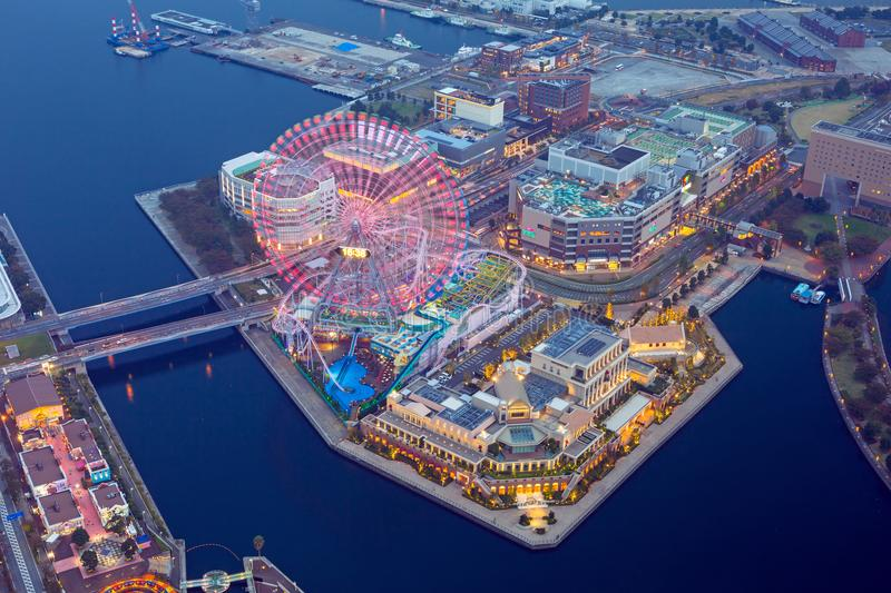Aerial view of of Minato Mirai 21 district in Yokohama at night stock image