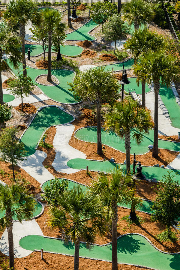 Aerial view of a miniature golf course. An aerial view of the Neptune Park miniature golf course located on St. Simons Island, Georgia royalty free stock photography